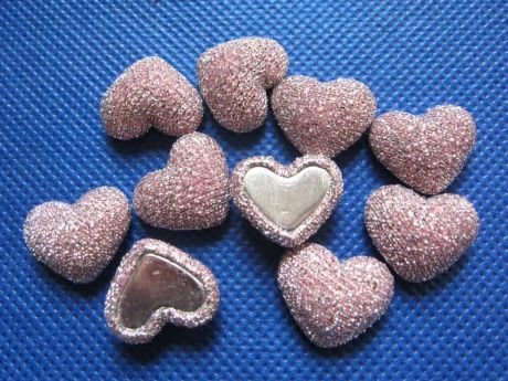 10 x 17MM GLITTER PINK HEART FLAT BACK PHONE CASE HEADBANDS BOWS CARD MAKING PLAQUES